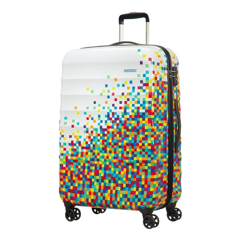 Valise multicouleurs avec motif pixel